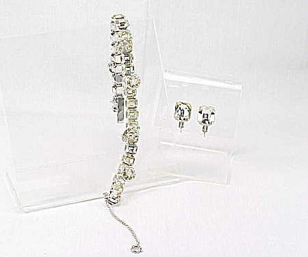 Vintage Eisenberg Rhinestone Bracelet And Clip Earrings