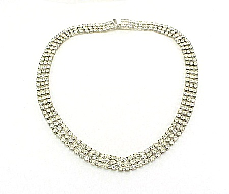 Vintage 3 Row Clear Rhinestone Choker Necklace