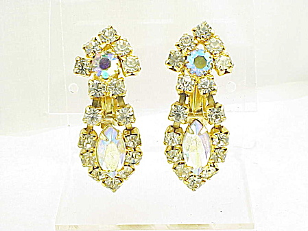VINTAGE JEWELRY - AURORA BOREALIS AND CLEAR RHINESTONE CLIP EARRINGS (Image1)