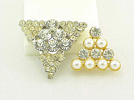 2 Large Triangle Shaped Rhinestone Buttons - 1 With Faux Pearls