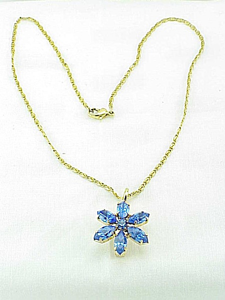 Blue Rhinestone Flower Combination Brooch Or Pendant Necklace