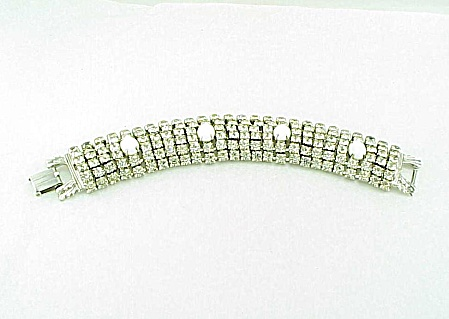 VINTAGE JEWELRY - WIDE SIX ROW RHINESTONE & WHITE GLASS BEAD BRACELET (Image1)