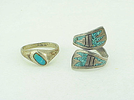 2 Native American Sterling Silver & Turquoise Rings