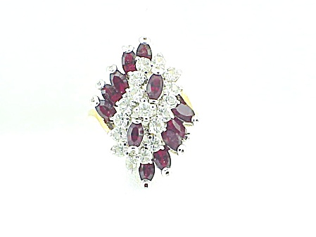 Dark Ruby Red And Clear Rhinestone Cluster Ring Size 6-1/2-7