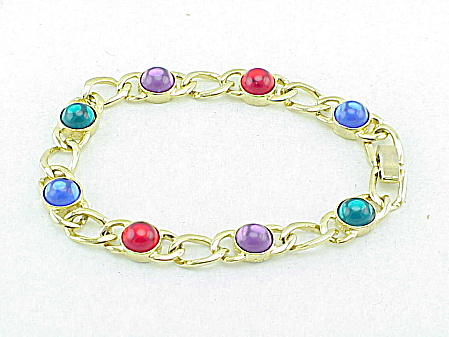 Multicolored Glass Cabochon Link Bracelet