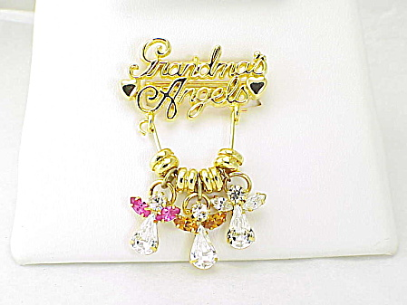 Grandma's Angels Brooch Or Pendant With Dangling Rhinestone Angels