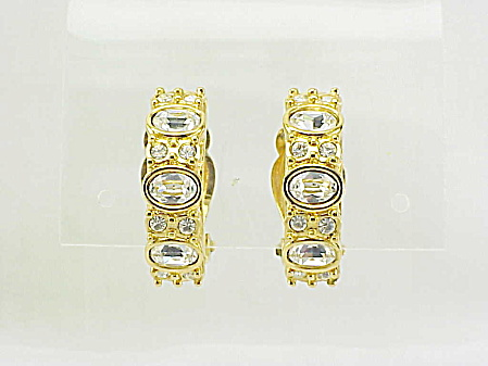 COSTUME JEWELRY - SWAROVSKI CLEAR CRYSTAL RHINESTONE HALF HOOP CLIP EARRINGS (Image1)