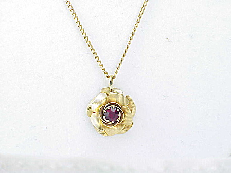 Vintage Sarah Coventry Red Rhinestone Flower Pendant Necklace