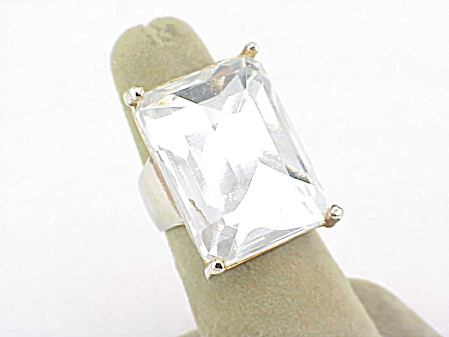 Large Clear Crystal Or Lucite Rhinestone Faux Diamond Ring - Size 6