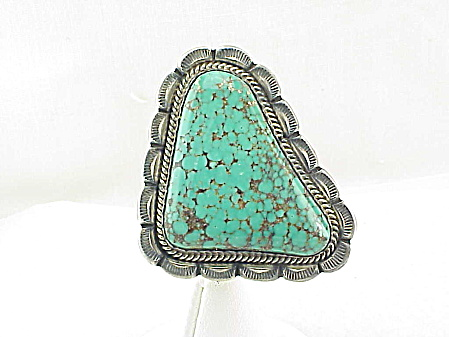 Old Pawn Native American Turquoise Sterling Silver Pendant Signed D
