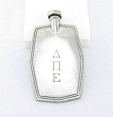 VINTAGE DELTA PI EPSILON SORORITY FRATERNITY SILVER PERFUME OR SNUFF PURSE BOTTLE (Image1)