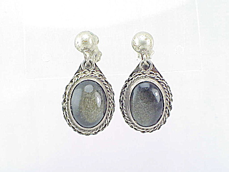 Vintage Mexican Sterling Silver Fossilized Stone Screw Back Earrings