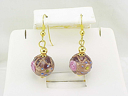 VINTAGE DANGLING WEDDING CAKE VENETIAN GLASS BEAD PIERCED EARRINGS (Image1)