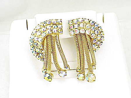 Vintage Aurora Borealis Rhinestone Clip Earrings With Dangling Tassels