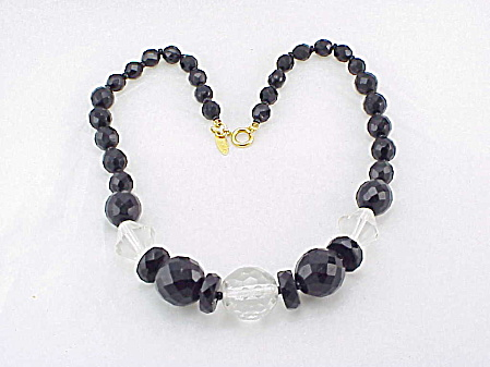 Vintage Sarah Coventry Black Faceted Glass And Crystal Bead Necklace