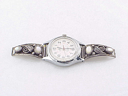 NATIVE AMERICAN STERLING SILVER MOTHER OF PEARL LADIES WATCH BAND TIPS SIGNED SC (Image1)