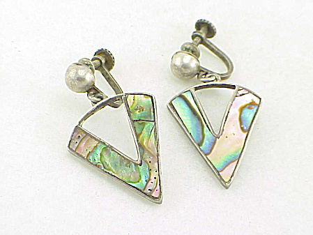 VINTAGE MEXICAN STERLING SILVER ABALONE SCREW BACK EARRINGS SIGNED SILVER MEXICO (Image1)