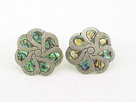 VINTAGE TAXCO MEXICO STERLING SILVER ABALONE SCREW BACK EARRINGS SIGNED EAGLE 3  (Image1)
