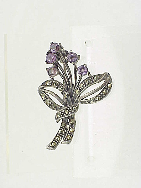 Sterling Silver Amethyst And Marcasite Flower Spray With Bow Brooch