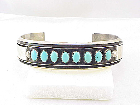 Native American Sterling Silver And Turquoise Cuff Bracelet Signed Mj
