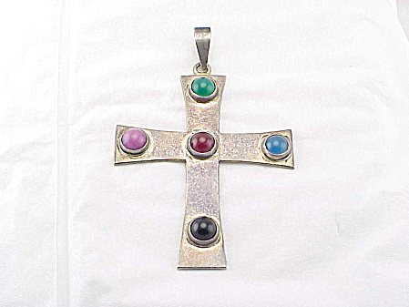 Signed Taxco Mexico Large Sterling Silver And Gemstone Cross Pendant