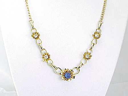 Vintage Blue And Clear Rhinestone Flower Gold Tone Choker Necklace