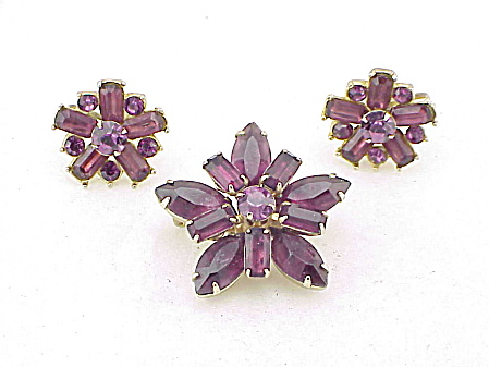 Vintage Amethyst Rhinestone Brooch And Screw Back Earrings Set