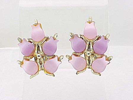 Vintage Jewelry - Pink And Lavender Lucite Thermoset Clip Earrings