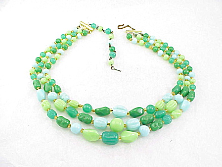 Vintage Jadite, Blue, Green Carved Molded Glass Bead 3 Strand Necklace