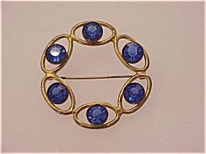 Vintage Large Cobalt Blue Glass Rhinestone Circle Brooch
