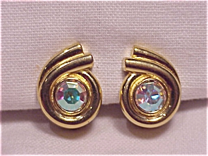 Vintage Gold Tone Clip Earrings With Large Aurora Borealis Rhinestone