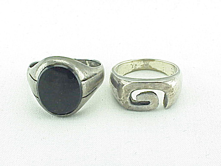 2 Vintage Sterling Silver Rings - One With Black Onyx