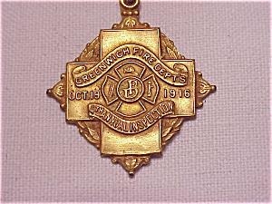 VINTAGE 1916 GREENWICH FIRE DEPARTMENT ANNUAL INSPECTION MEDAL (Image1)