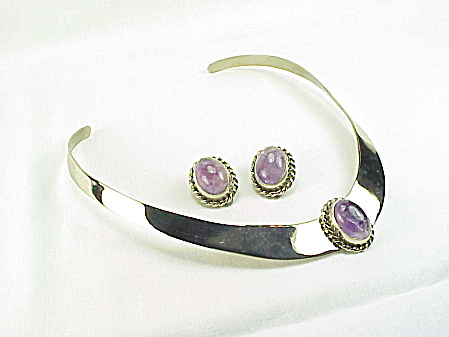 Amethyst On Silver Tone Collar Style Necklace And Clip Earrings Set
