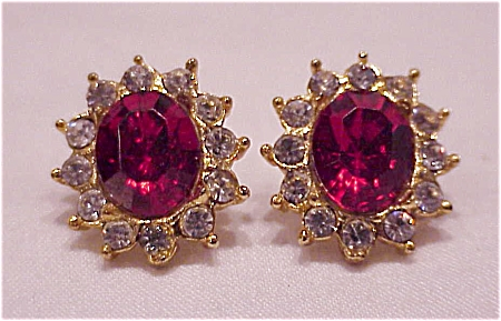 COSTUME JEWELRY - RED AND CLEAR RHINESTONE PIERCED EARRINGS (Image1)