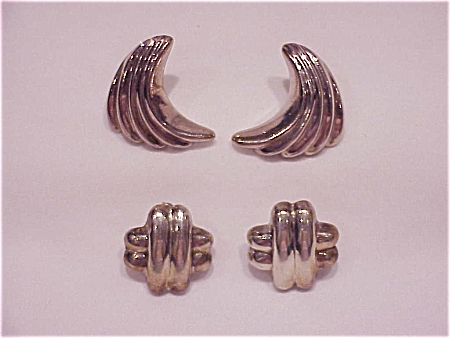 2 Pairs Of Sterling Silver Pierced Earrings Signed Nd
