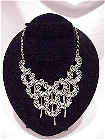 Vintage Sarah Coventry Large Silver Tone Filigree Necklace