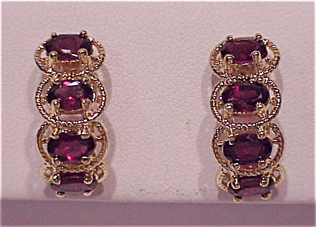 COSTUME JEWELRY - GOLD FILLED AND GARNET RHINESTONE PIERCED EARRINGS (Image1)