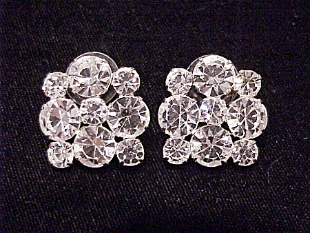 BRILLIANT CLEAR RHINESTONE PIERCED EARRINGS (Image1)