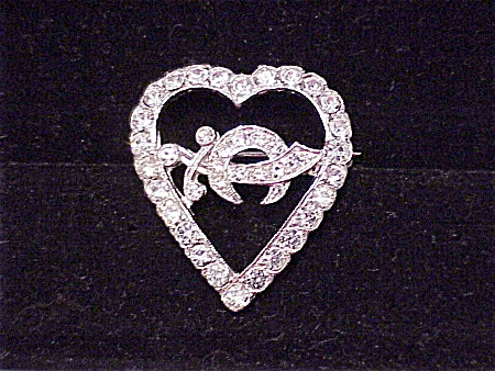 VINTAGE COSTUME JEWELRY - MASON SHRINER SWORD RHINESTONE HEART BROOCH SIGNED ORA (Image1)