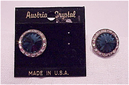 COSTUME JEWELRY - BLUE & CLEAR AUSTRIAN CRYSTAL RIVOLI RHINESTONE PIERCED EARRINGS (Image1)