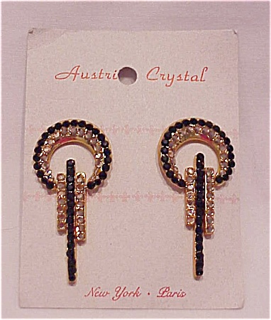 COSTUME JEWELRY - BLACK AND GOLD AUSTRIAN CRYSTAL RHINESTONE PIERCED EARRINGS (Image1)