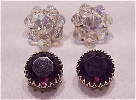 VINTAGE COSTUME JEWELRY - 2 PAIR OF CLIP EARRINGS - AB CRYSTAL, AMETHYST RHINESTONE (Image1)