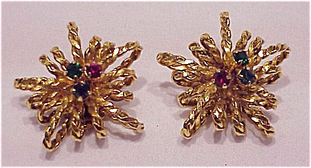 COSTUME JEWELRY - VINTAGE SIGNED AUSTRIA GOLD TONE & RHINESTONE CLIP EARRINGS (Image1)
