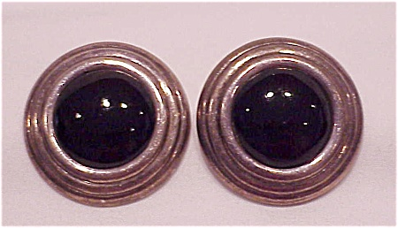 STERLING SILVER & BLACK ONYX PIERCED EARRINGS SIGNED IMA (Image1)