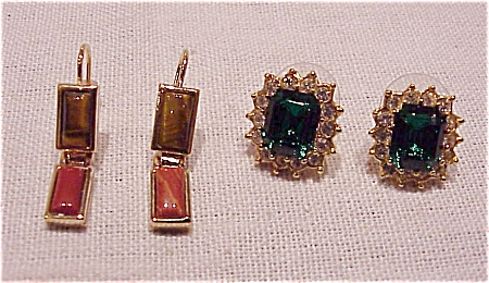 Costume Jewelry - Two Pair Of Pierced Earrings Signed Roman - 1 Rhinestone, 1 Stones