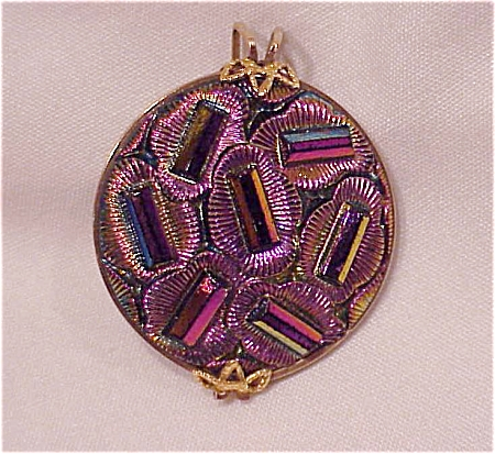 VINTAGE COSTUME JEWELRY - IRIDESCENT PINK AND PURPLE GLASS DRESS CLIP (Image1)