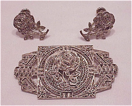 Art Deco Sterling Silver & Marcasite Rose Brooch & Earrings Set