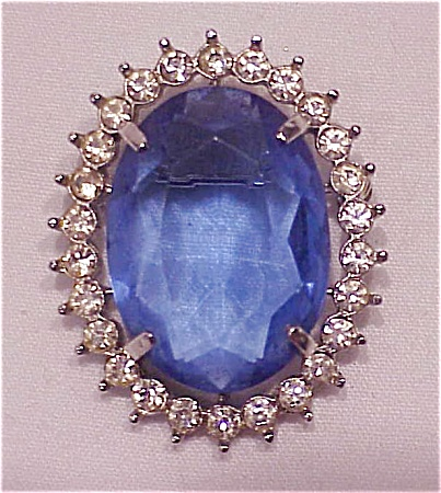 VINTAGE COSTUME JEWELRY - BLUE GLASS RHINESTONE COMBINATION BROOCH OR PENDANT (Image1)