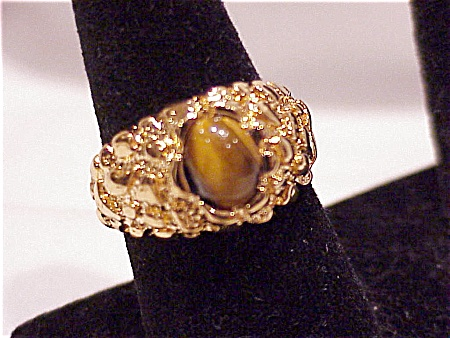 UNCAS 14K GOLD ELECTROPLATE TIGER EYE RING - SIZE 13 (Image1)